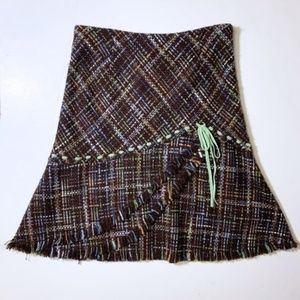RARE Anthropologie Scallop Tweed Skirt 6 Elevenses